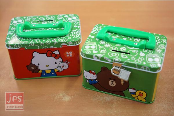 Hello Kitty × LINE 手提四方存錢筒 (大集合綠)