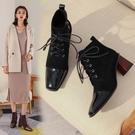 真皮大尺碼女鞋34-43 2020新款法式優雅百搭絨面頭中跟時裝靴 短靴子~2色