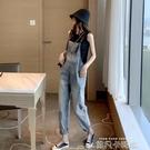 牛仔褲2020新款秋季時尚顯瘦薄款女褲洋氣女直筒韓版寬鬆背帶褲 依凡卡時尚