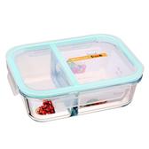 玻璃飯盒帶全分隔大號微波爐可加熱玻璃碗密封盒3格便當保鮮盒     交換禮物