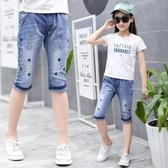 女童牛仔短褲中褲正韓女孩童裝兒童馬褲夏季薄款中大女童七分褲子