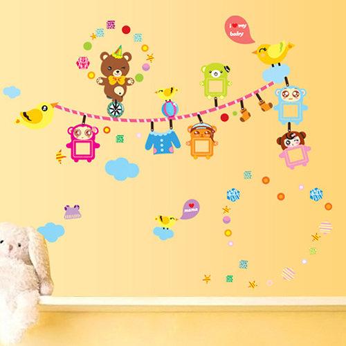 壁貼 小熊兒童相片框 卡通壁貼 無痕壁貼 壁紙 牆貼 室內設計 裝潢【YV4167】Loxin