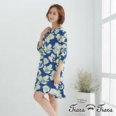 【Tiara Tiara】百貨同步 古典繪花寬版五分袖洋裝(藍底/灰底)