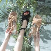 夏季新款涼鞋網紅晚晚平底超火時尚百搭ins綁帶潮仙女風女鞋