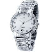【台南 時代鐘錶 ROSDENTON】勞斯丹頓 2831MBB-W1 藝術之家男錶 晶鑽時尚腕錶 白/銀