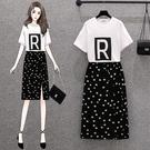 半身裙套裝 裙子M-4XL大碼網紅套裝女字母印花T恤開叉波點魚尾半身裙兩件套2F097.8357 胖丫