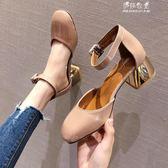 韓版新款英倫風粗跟方頭一字扣瑪麗珍高跟鞋奶奶鞋涼鞋女 伊莎公主