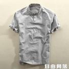 夏季立領亞麻短袖襯衫男士套頭薄款透氣休閒寬鬆棉麻襯衣半袖上衣 自由角落
