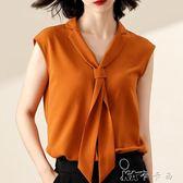 雪紡衫短袖女夏韓版寬鬆大碼遮肚子顯瘦無袖襯衫氣質上衣 卡卡西