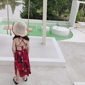 女童沙灘裙海邊度假洋氣露背兒童寶寶雪紡洋裝波西米亞長款碎花 幸福第一站