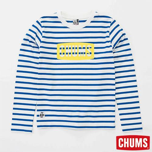 CHUMS 日本 男 LOGO 條紋長袖T恤 白/湖水藍 CH011208W026