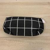 簡約經典格子帆布筆袋拉鍊鉛筆袋文具袋(20*10公分/777-3489)