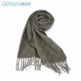 GUCCI 經典雙G-LOGO百分百喀什米爾羊毛圍巾(軍綠色)084056-3
