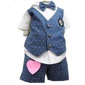 正韓貝貝龍 紳士西裝禮服套裝 假二件上衣+短褲-藍詹姆斯 | 婚宴花童正式服裝(嬰幼兒/小孩/baby)