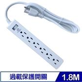 安全達人 S-21606-BO 3P安全延長線(1開6插)1.8M/6尺