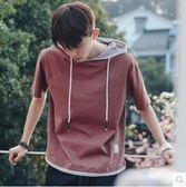 夏款撞色男士寬鬆帶帽短袖T恤PLL3634【男人與流行】