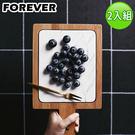 【日本FOREVER】北歐時尚竹製大理石輕食盤/附柄托盤(17X28)-2入組