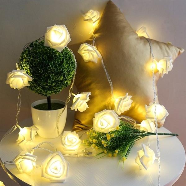 【2米20燈】台灣出貨 玫瑰花串燈 串燈 玫瑰造型 花串 浪漫裝飾 LED燈 燈飾 布置 裝飾
