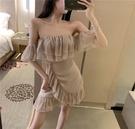 抹胸洋裝 夏天性感抹胸一字肩荷葉邊裙子夜店女裝夏季氣質連身裙-Ballet朵朵