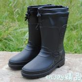 全館83折 冬款時尚仿皮男式雨鞋中筒高筒加絨保暖雨靴機車水鞋套鞋雨鞋