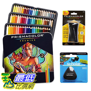 [106美國直購] Prismacolor 彩筆 Colored Pencils Box of 72 Assorted Colors, Triangular Scholar Pencil