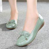 中年女鞋平跟媽媽鞋真皮單鞋軟底豆豆鞋女大碼淺口中老年皮鞋吾本良品