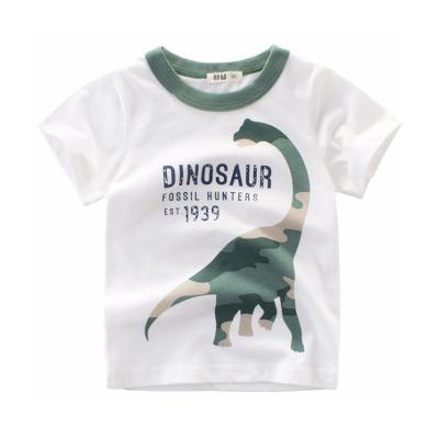 男Baby男童短袖純棉T恤迷彩恐龍白色T恤春夏上衣現貨  出口歐美品質