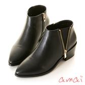 amai金屬拉鏈造型拼接萊卡尖頭平底短靴 黑