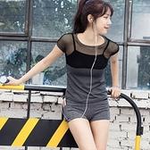 瑜珈服套裝(兩件套)-夏季鏤空網紗拼接女運動服73oc20【時尚巴黎】