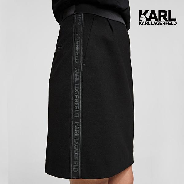 (微解封散步推)【KARL LAGERFELD】側邊LOGO A字短裙-黑 (原廠公司貨)