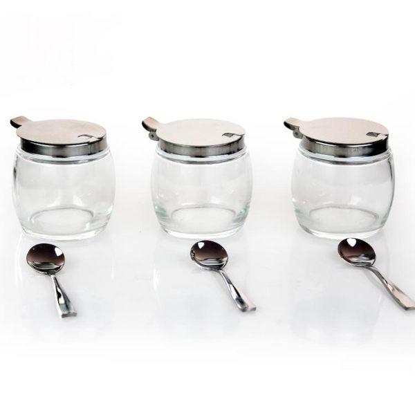 玻璃調味瓶罐不銹鋼小勺雞精鹽胡椒花椒辣椒面罐廚房新品