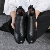 中筒靴35-43靴子媽媽鞋冬季短靴女坡跟女靴