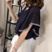 """ZUCA""""S - 露背短袖雪紡喇叭衫 - XA-6722"""