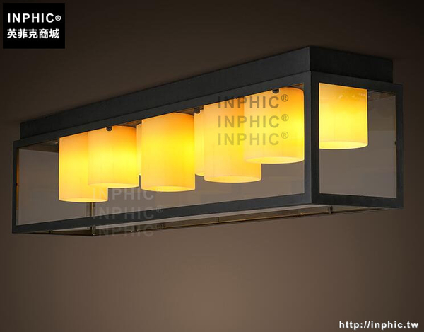 INPHIC- 長方形鐵藝雲石玻璃箱美式工業風個性吸頂燈客廳餐廳吸頂燈_S197C