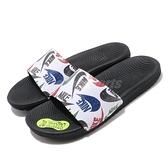 Nike 涼拖鞋 Kawa Slide SE JDI GS PS 白 黑 女鞋 大童鞋 滿版Logo 拖鞋【ACS】 CT6619-010