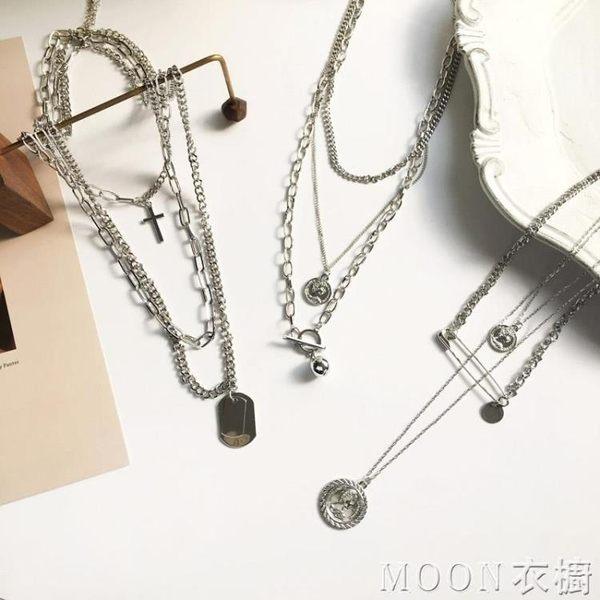 項鍊 歐美嘻哈潮流多層可拆十字架頸鍊項鍊個性酷女硬幣別針鎖骨鍊 moon衣櫥