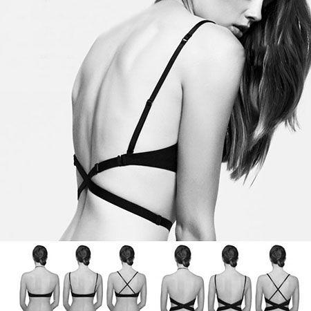 深U集中美背多穿法內衣 (無內褲) 上薄下厚胸墊 內衣 露背 可拆式肩帶 美胸