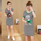 韓版 長版T 連身裙S-3XL 9318 夏裝新款條紋短袖t恤女字母印花中長款休閑百搭包臀柏1F133A 1號公館
