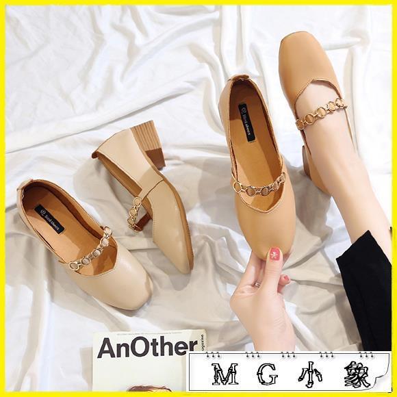 MG 粗跟鞋-小皮鞋瑪麗珍方頭中跟粗跟奶奶鞋
