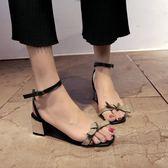 夏季新款韓版中跟粗跟百搭涼鞋女一字帶露趾中空女士高跟女鞋【居享優品】