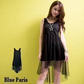 【藍色巴黎】純色網紗拼接前短後長連身裙 洋裝 【11859】