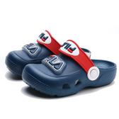 FILA 童鞋 藍紅 布希鞋 膠鞋 燈鞋 LED (布魯克林) 7S855U321