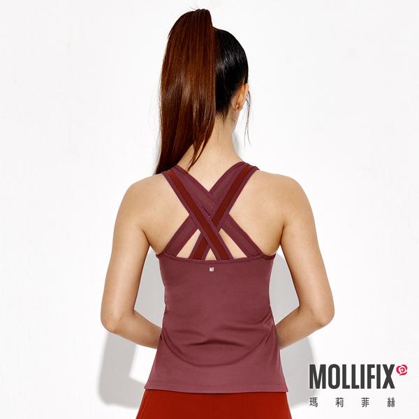 Mollifix瑪莉菲絲 雙帶後交叉透網bra top (紅藜)