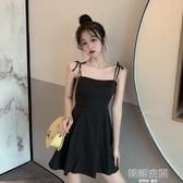 連身裙 春裝2020新款甜美減齡修身顯瘦小個子心機黑色吊帶洋裝女裝
