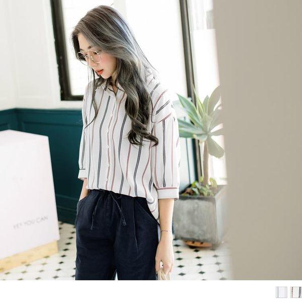 《AB6057-》柔滑垂墜感配色直條紋五分袖襯衫 OB嚴選