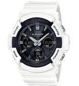 CASIO 卡西歐 G-SHOCK Tough Solar 強悍風範帥氣大錶徑金屬錶圈潮流時尚腕錶-黑x白 GAS-100B-7A