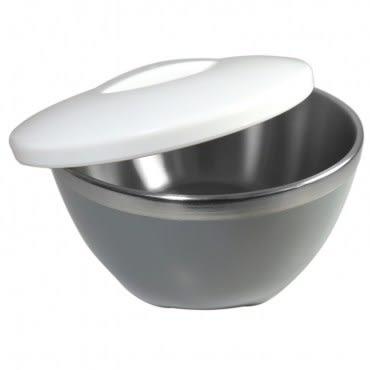HOLA home 時尚雙層隔熱碗15cm 灰白