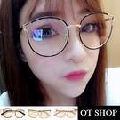 OT SHOP眼鏡框‧明星同款時尚復古拼色貓眼造型‧貓眼混膠金屬鏡框平光眼鏡‧現貨‧黑/金/粉‧W43