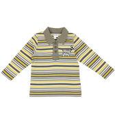 【愛的世界】小浣熊橫條紋長袖POLO衫/6~10歲-台灣製- ★秋冬上著