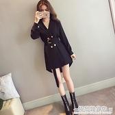 韓版西裝外套女秋季新款ins超火洋氣時尚中長款顯瘦長袖薄款風衣 完美居家